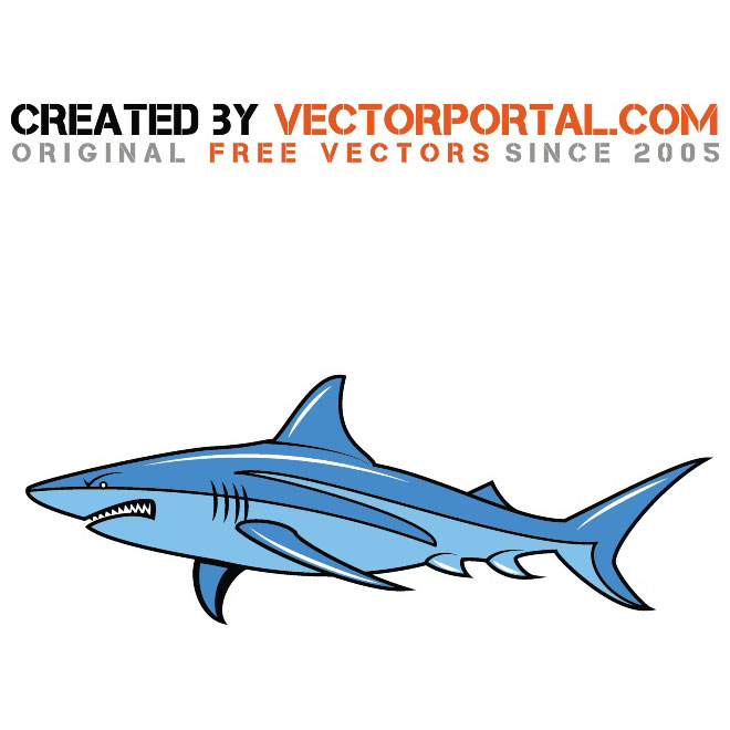 Angry Shark Cartoon Free Vector