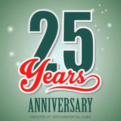 Anniversary 25 Years Free Vector