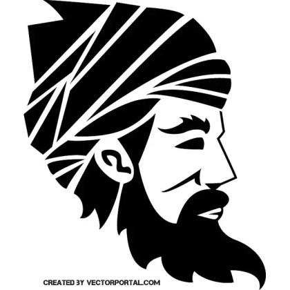 Arab Man with Turban Image Free Vector