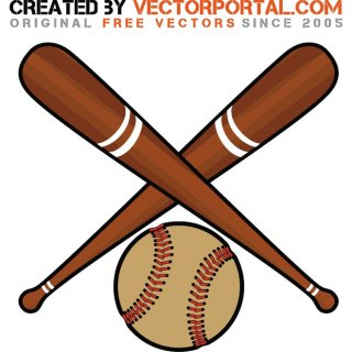 Baseball Bats and Ball Free Vector