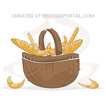 Basket with Pastry Free Vector