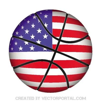 Basketball with Usa Flag Free Vector