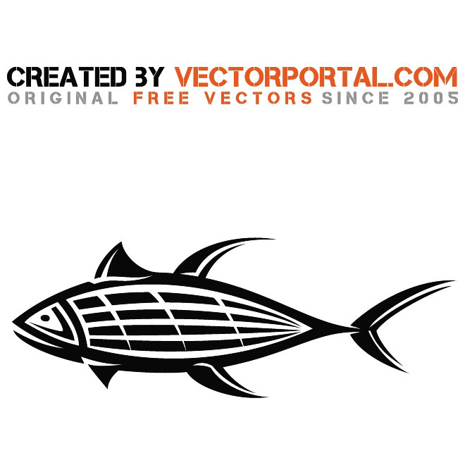Black and White Fish Free Vector