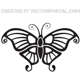 Black Butterfly Clip Art Free Vector