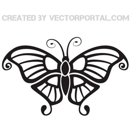 Black Butterfly Clip Art Free Vector