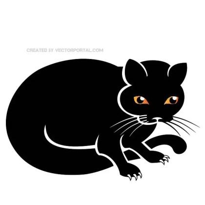Black Cat Clip Art Free Vector
