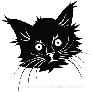 Black Cat Head Free Vector