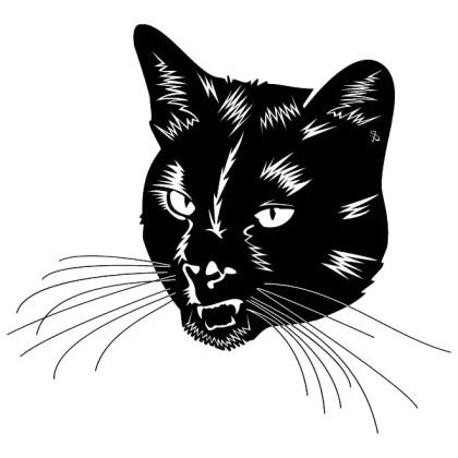 Black Cat Head Free Vector