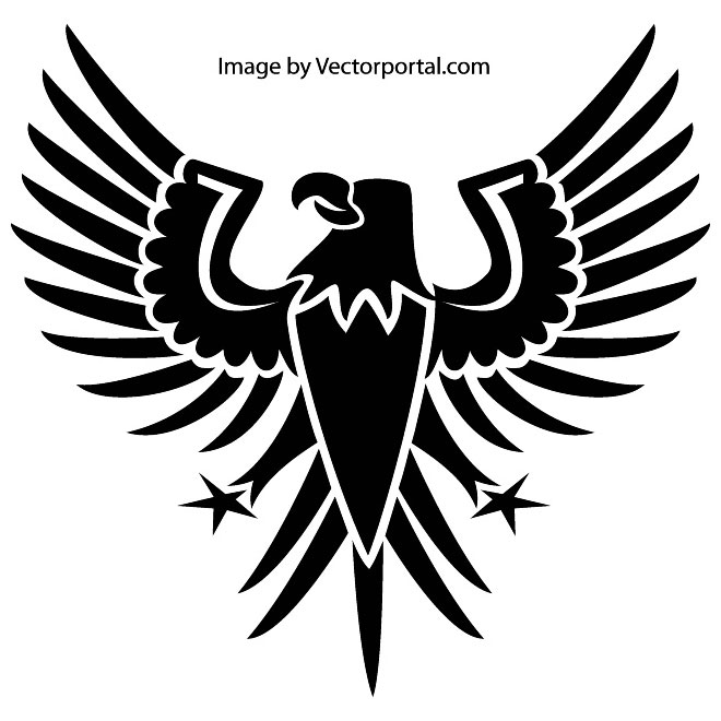 Black Heraldic Eagle Free Vector