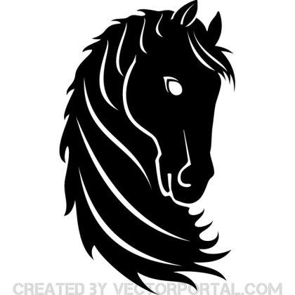 Black Horse Head Free Vector