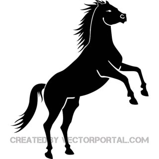 Black Horse on Two Legs 2 Free Vector