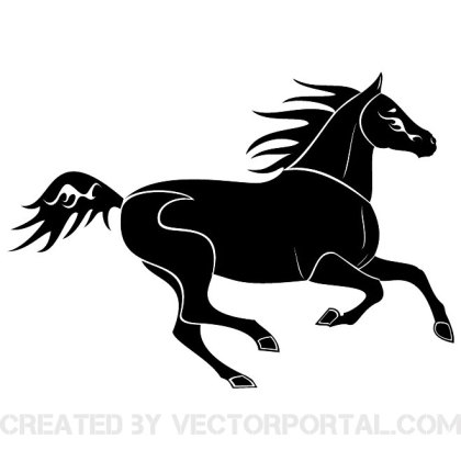 Black Horse Running Free Vector