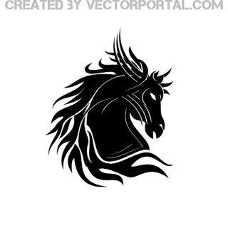 Black Horse with Hair Free Vector