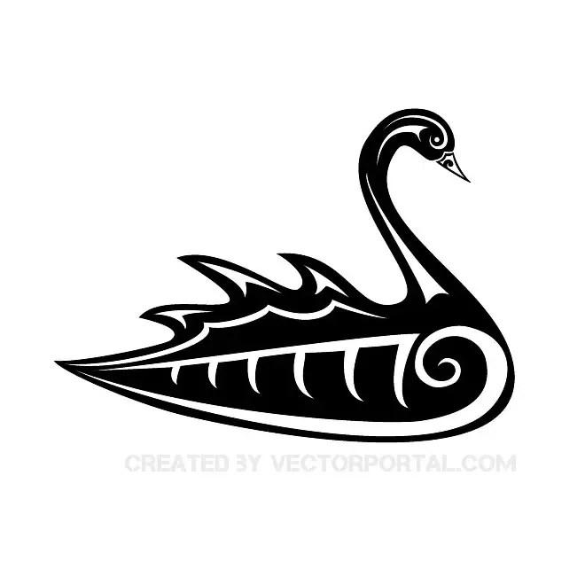 Black Swan Tribal Free Vector