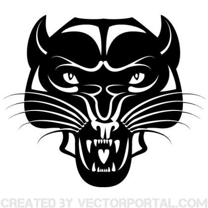 Black Wild Cat Clip Art Free Vector