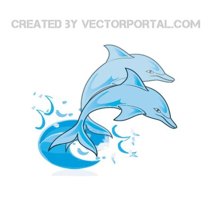 Blue Dolphins Free Vector