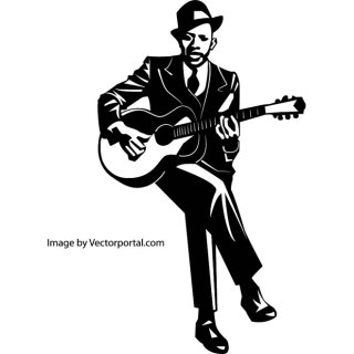 Blues Guitarist Image Free Vector