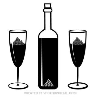 Bottle and Glasses Free Vector