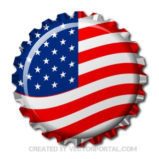 Bottle Cap in Usa Flag Free Vector