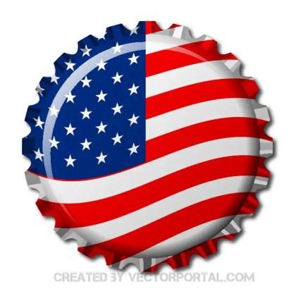 Bottle Cap in Usa Flag Free Vector