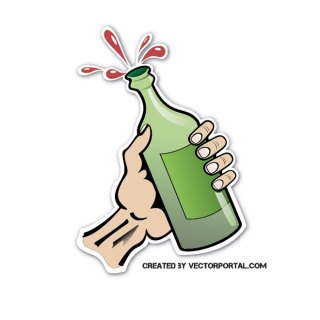 Bottle in Hand Free Vector