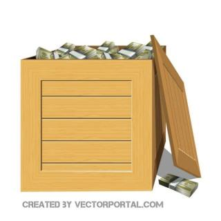 Box Full of Money Free Vector
