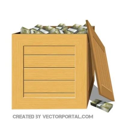 Box Full of Money Free Vector