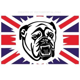 British Bulldog and English Flag Free Vector