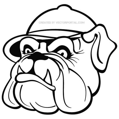 Bulldog with Cap Free Vector