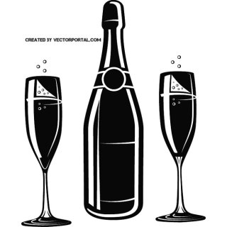 Champagne Bottle and Glasses Free Vector