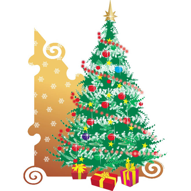 Christmas Tree with Presents Free Vector