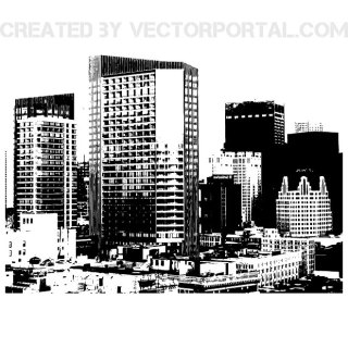 City Skyline Monochrome Free Vector