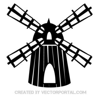 Clip Art of Windmill Free Vector