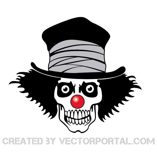 Clown Skull with Hat Free Vector