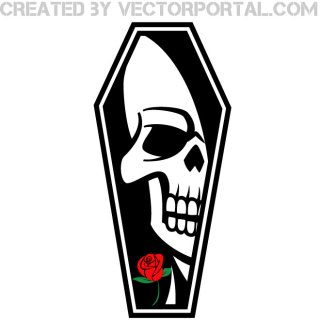 Coffin with Skull Image Free Vector