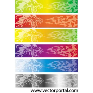 Colorful Flames Banners Free Vector