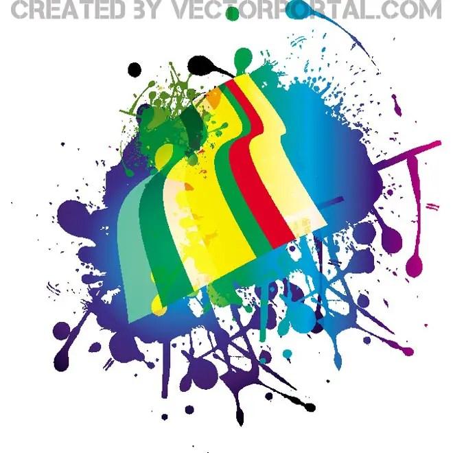 Colorful Splatter Grunge Image Free Vector