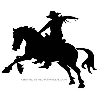 Cowboy Rodeo Silhouette Free Vector