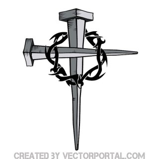 Cross of Nails with Thorn Free Vector
