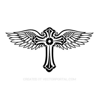 Cross with Wings Image Free Vector