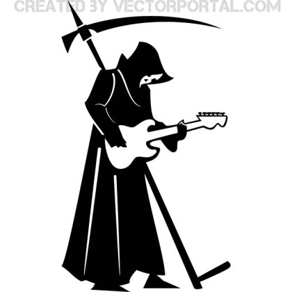 Death with Guitar Image Free Vector