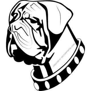 Dog with Neck Belt Image Free Vector