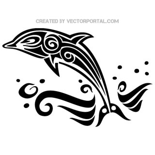 Dolphin Tattoo Style Free Vector