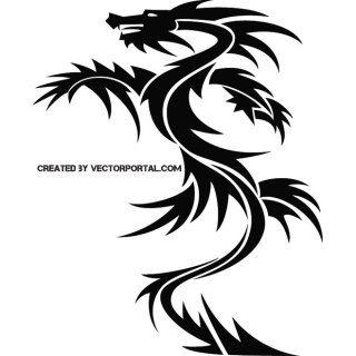 Dragon Tribal Tattoo Design Free Vector