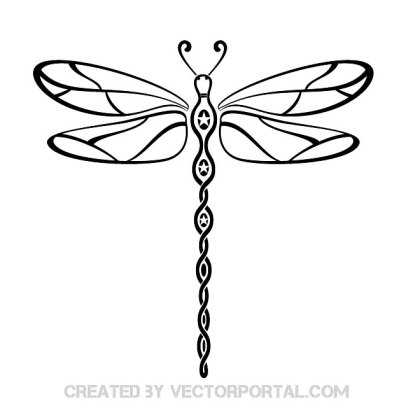 Dragonfly Tribal Style Free Vector