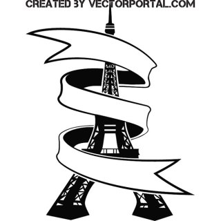 Eiffel Tower with Ribbon Free Vector