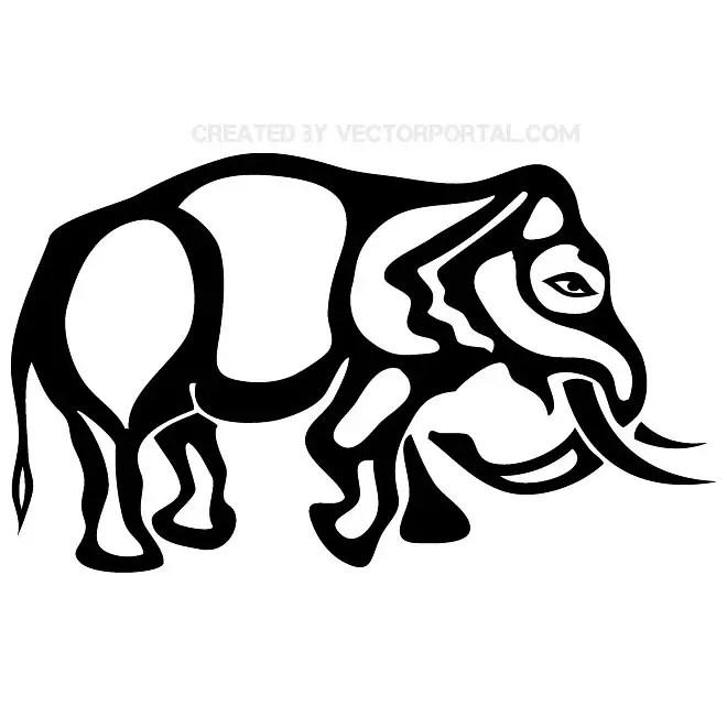 Elephant Tattoo Free Vector