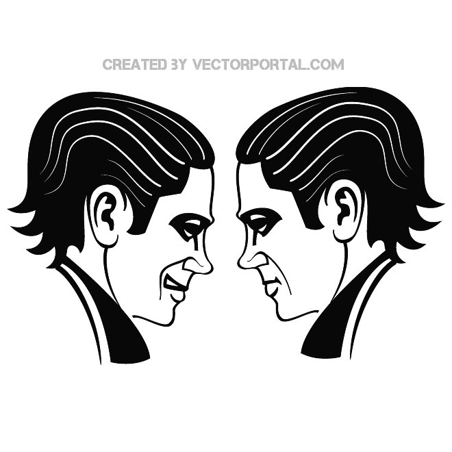 Face To Face Illustration Free Vector