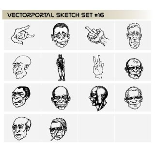 Faces Free Set Free Vector