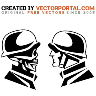 Faces of War Illustration Free Vector